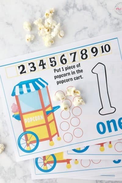 Free sick day activity for kids! Free printable popcorn counting sheet + list of sick day essentials to have on hand.