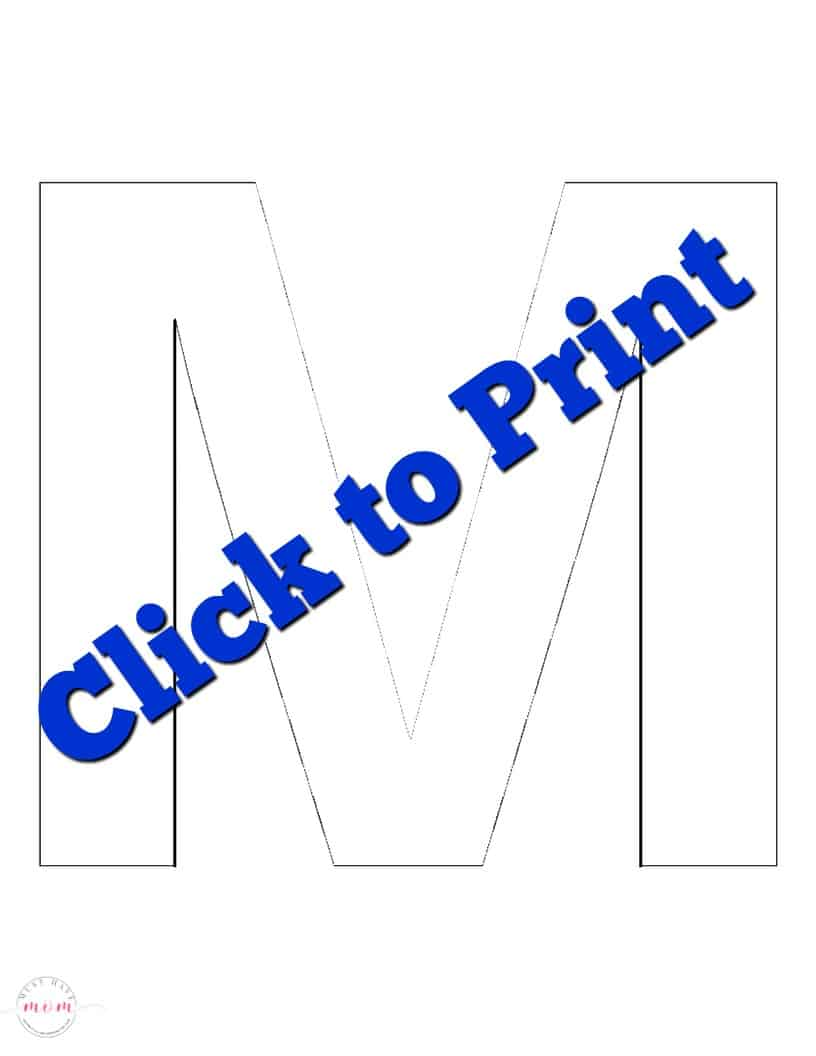 photograph relating to Letter M Printable named cost-free printable letter M template - Ought to Incorporate Mother