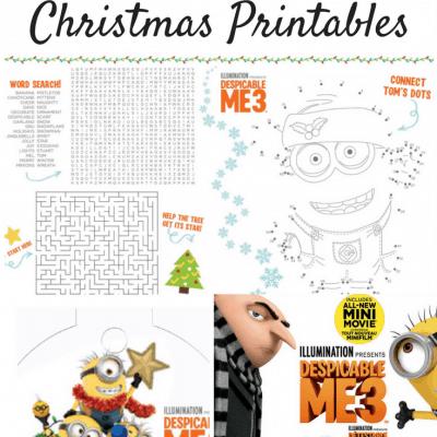 Free DESPICABLE ME 3 Christmas Printables