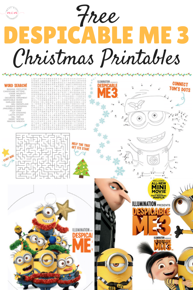 Free Despicable Me 3 Christmas Printables