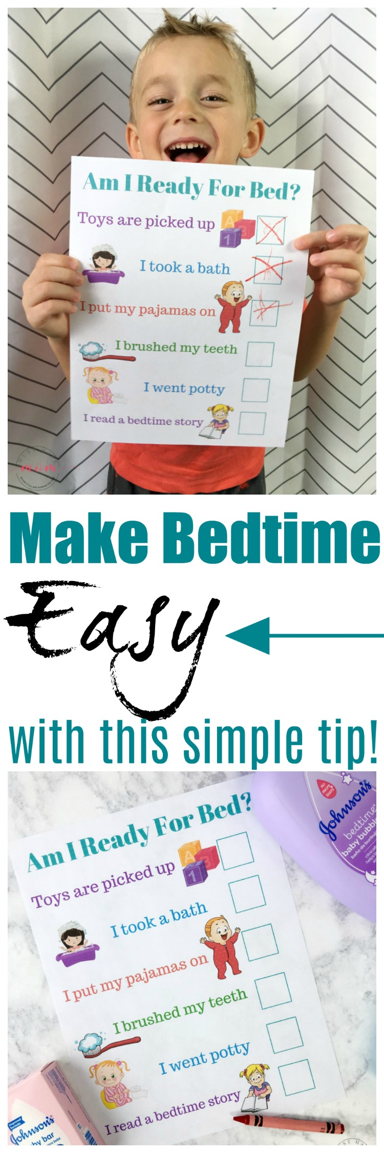 Make bedtime EASY with this simple tip and free printable bedtime routine chart!