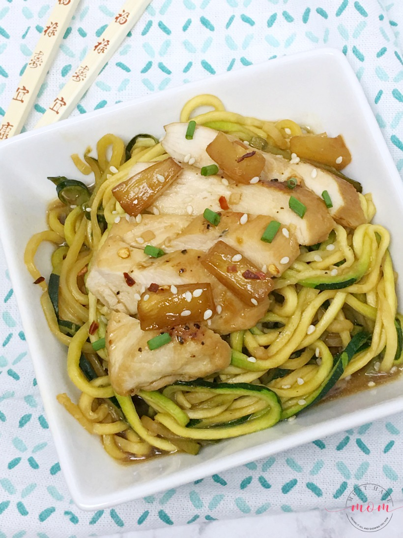 Quick and easy Teriyaki chicken with zoodles recipe! Shows easy way to make zoodles with Ninja® Intelli-Sense™ Kitchen System with Auto-Spiralizer™!