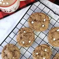 Easy, mouthwatering hot cocoa cookies! These are hot chocolate cookies that are chewy on the inside and crunchy on the outside with mini marshmallows. So good.