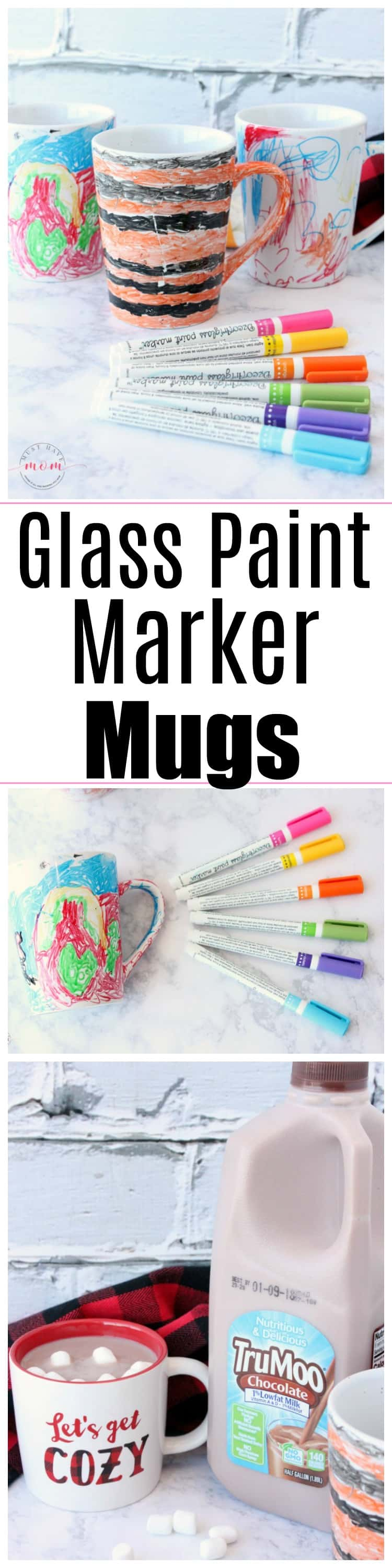 "DIY glass paint marker mugs. Homemade gifts kids can make. ""Sharpie mug"" DIY that actually stays on! + TruMoo Chocolate Milk warmed up for a mess-free hot cocoa treat! #ad"