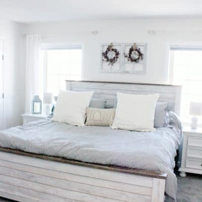 Farmhouse Style Master Bedroom Makeover Using Hypoallergenic Carpet Alternative | Air.o Unified Soft Flooring