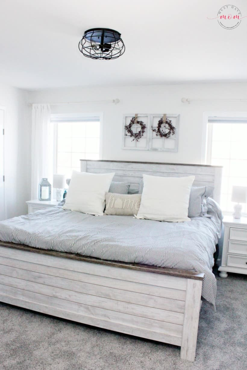 Farmhouse Style Master Bedroom Makeover Using Hypoallergenic ...