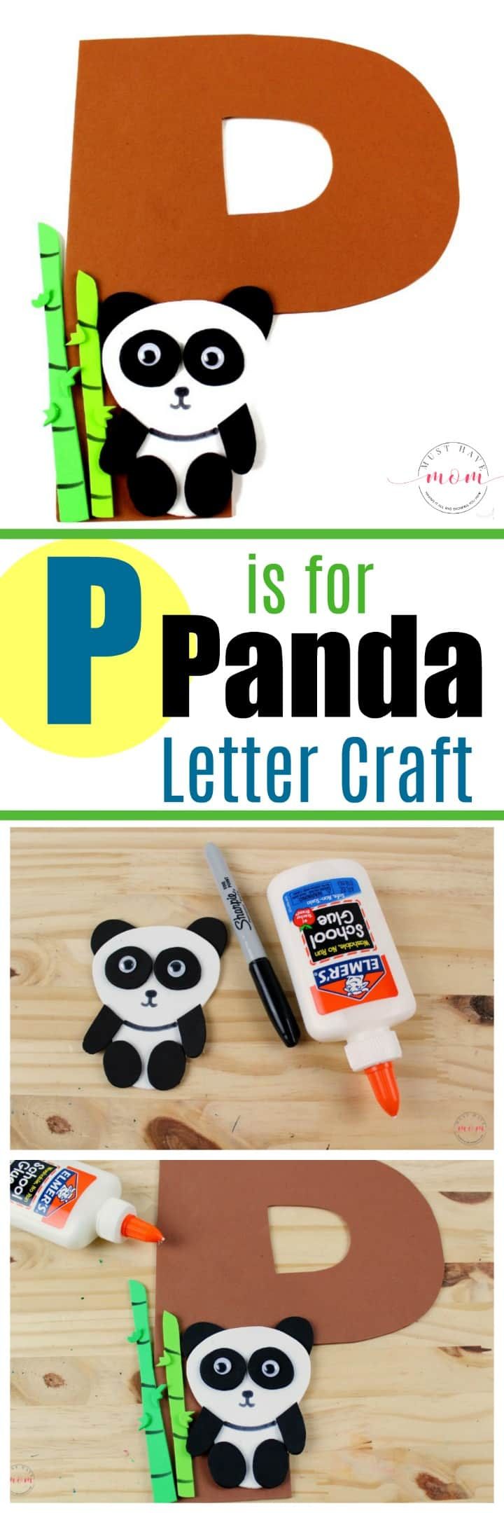P is for Panda Kids letter craft with free printables! Great alphabet series for teachers to teach letters!