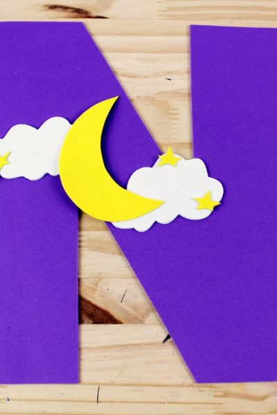 Weekly letter craft series N is for Night. Alphabet activities and crafts with free printables.