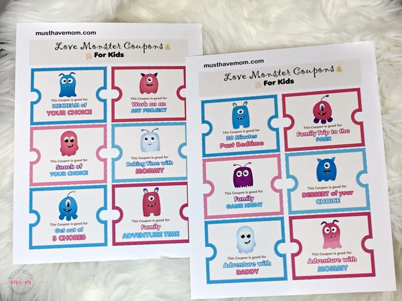 Adorable love coupons or reward coupons for kids. Great for Valentine's Day coupons or any day to reward good behavior.
