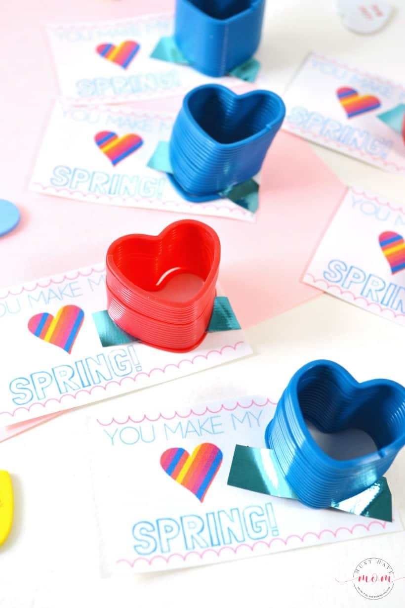 Free Valentine Printable classroom exchange cards. Pair with a heart slinky for a cute non-food Valentine's Day card.