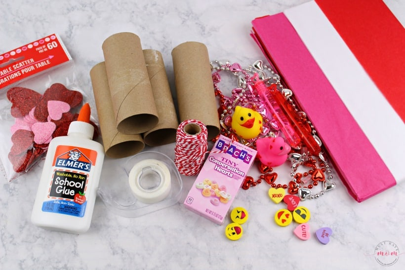 Toilet paper roll crafts for Valentine's Day! Easy and inexpensive Valentine's Day treat poppers for parties.