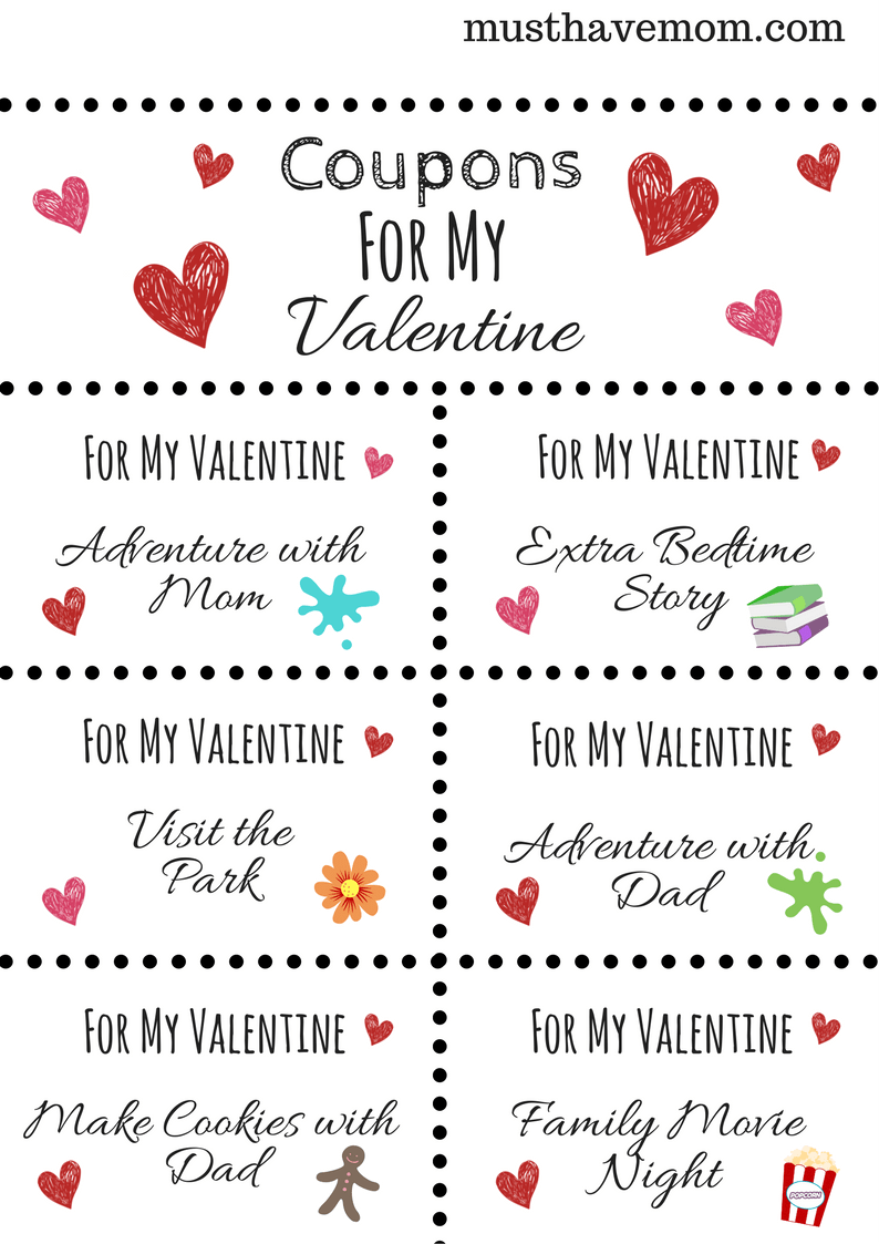 Free printable Valentine's Day coupons to give your kids! Show your love with these fun kids coupons!