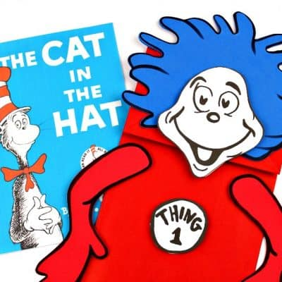 Thing 1 & Thing 2 Puppets! Dr Seuss Crafts + Free Printable