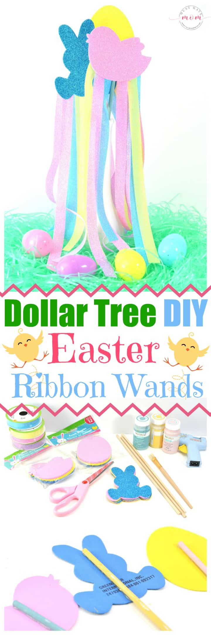 Easy dollar tree DIY ribbon wands Easter craft idea! Dollar store crafts are inexpensive and I LOVE Easter crafts!