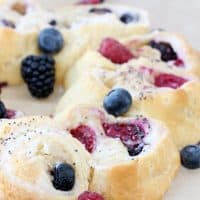 Triple berry cream cheese Pillsbury crescent roll breakfast recipe. Quick and easy breakfast idea perfect for entertaining!