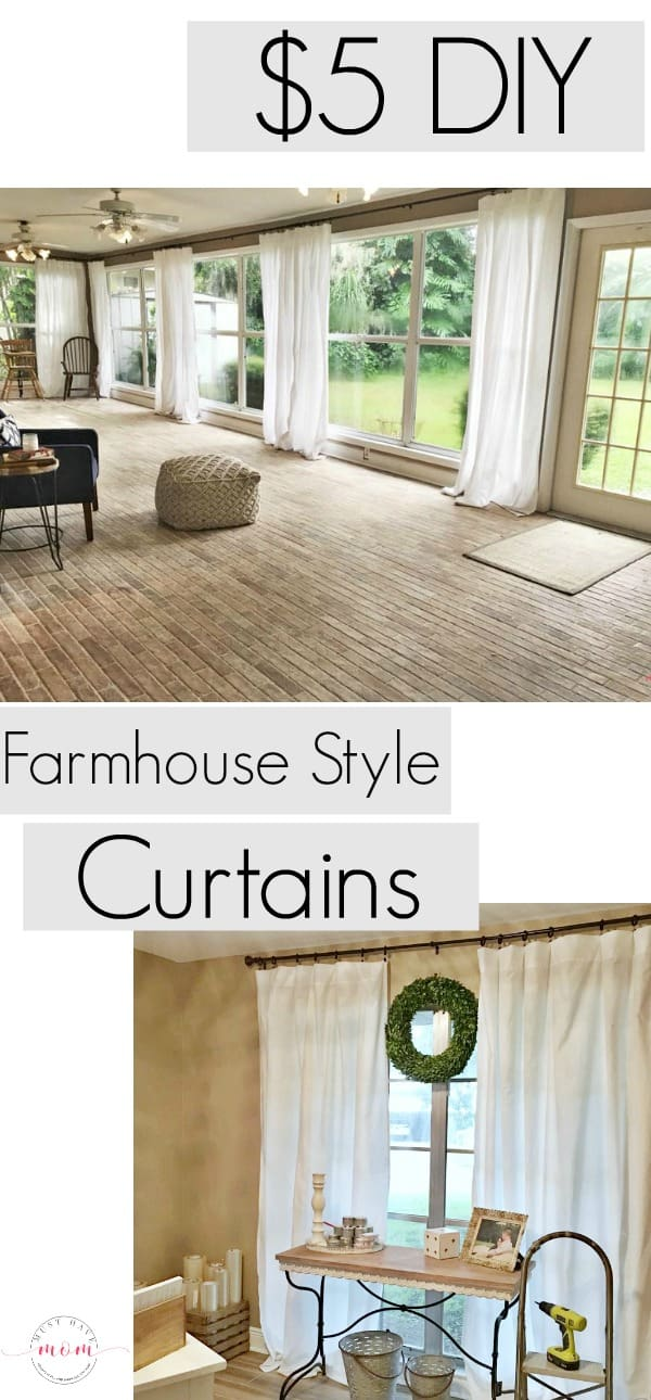 Farmhouse Living Room DIY Curtains Now Sew Just $5 To Make Each Of The  Farmhouse Curtains