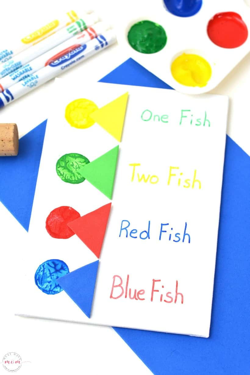 One Fish Two Fish Activities - Dr Seuss crafts using wine cork painting for kids.