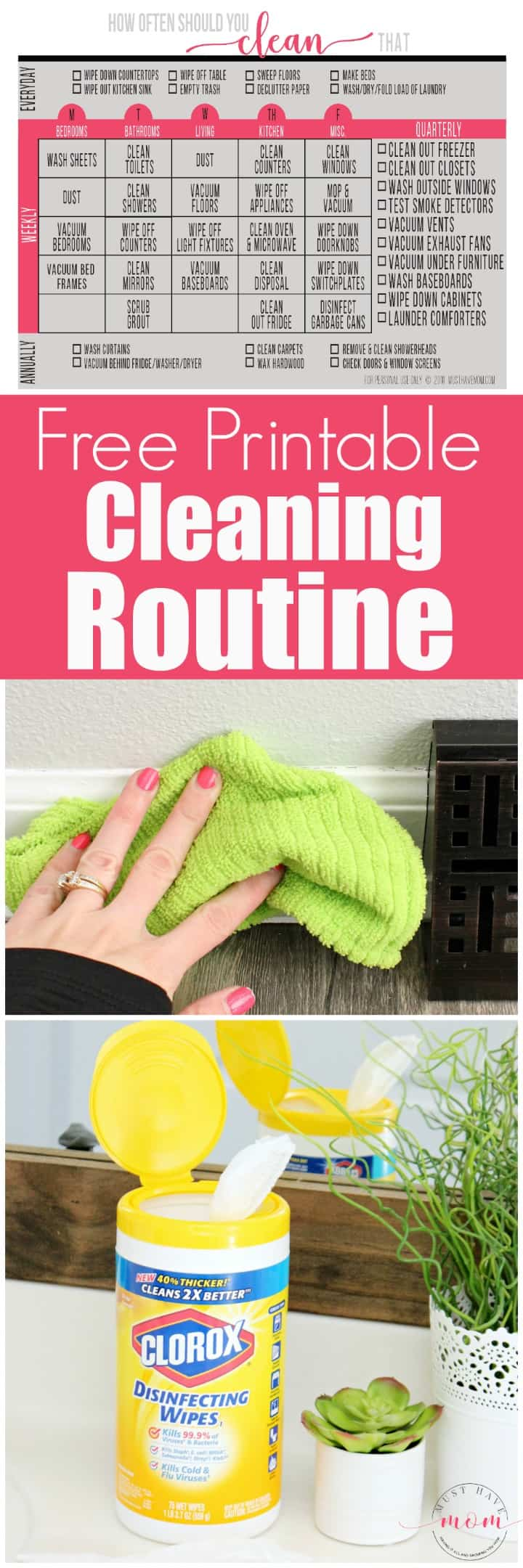 How often should you clean that? Free cleaning routine printable to keep your house clean in less time.