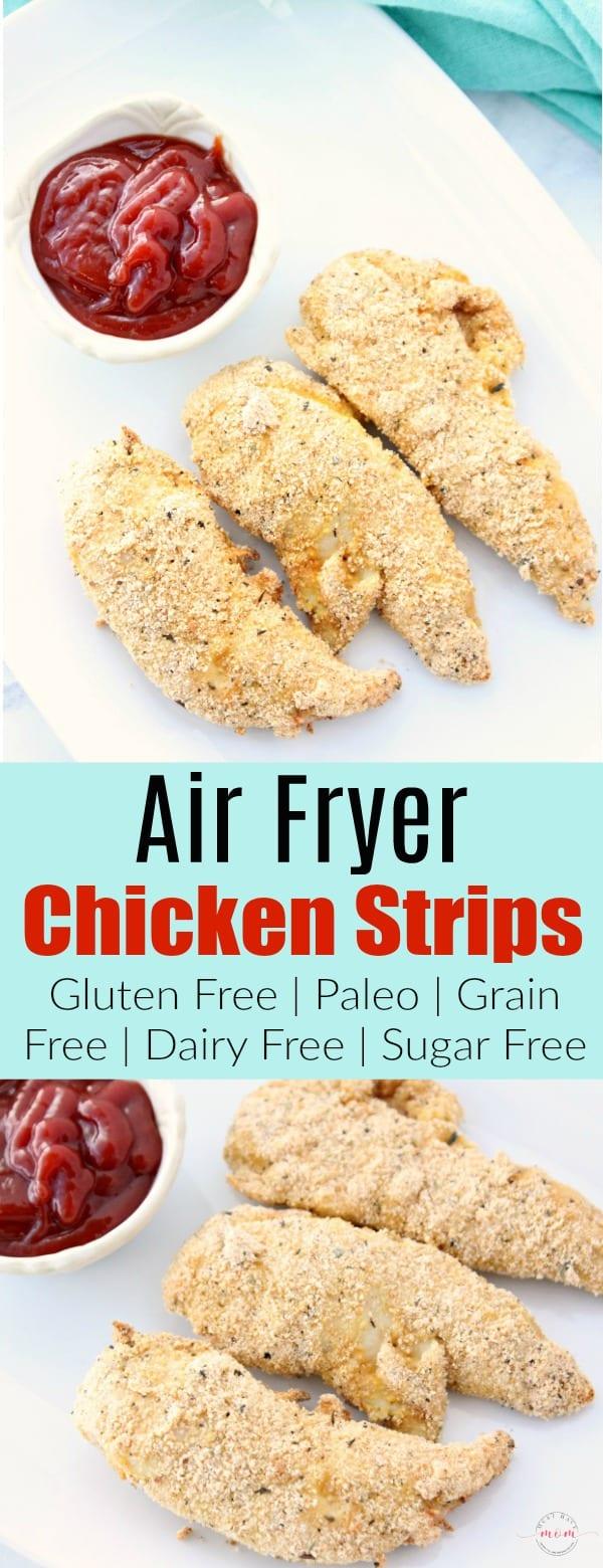 Gluten free chicken strips recipe. Favorite air fryer recipes using paleo healthy take on chicken strips.