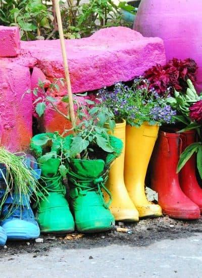 Cool garden ideas for kids like a boot garden!