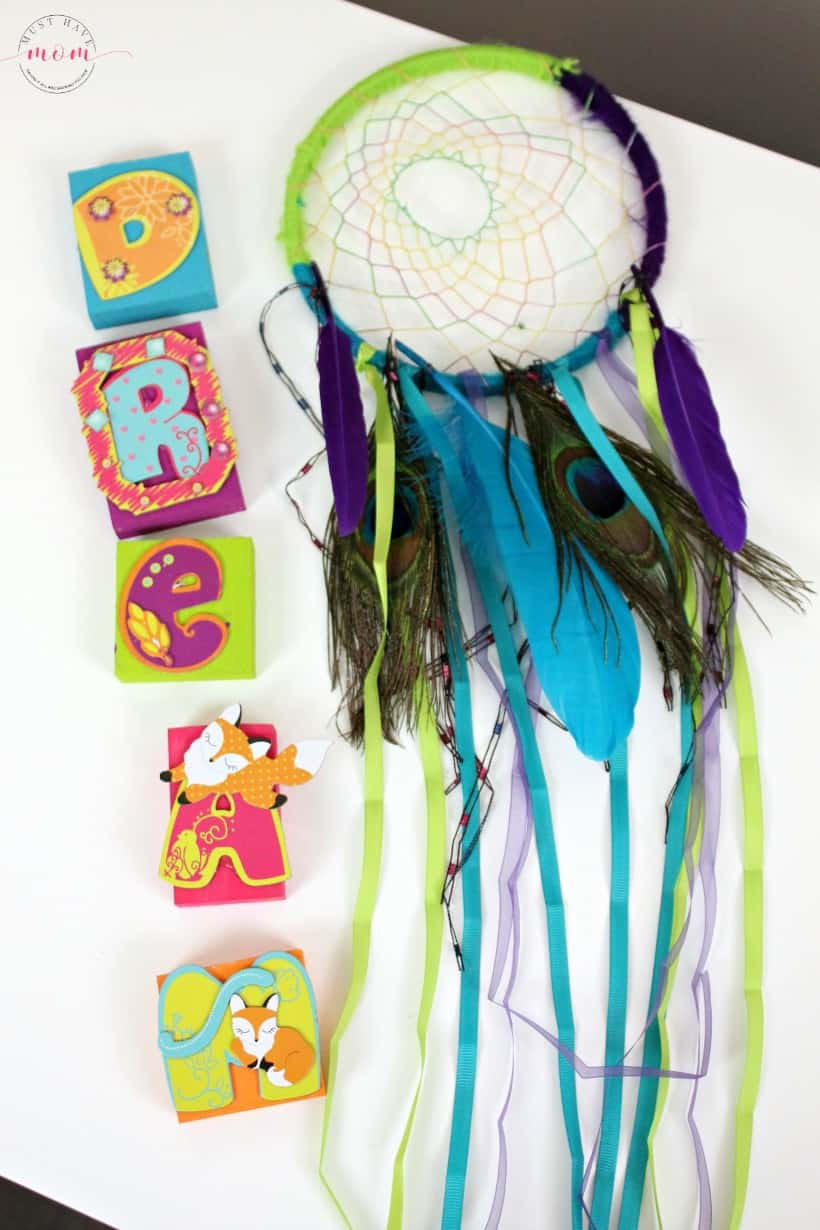 Completed Creative Girls Club Dream Blocks and Dreamcatcher projects