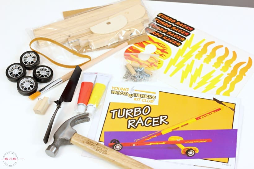 Young Woodworkers Kit Contents for Turbo Racer Project
