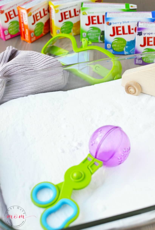 rainbow jello sensory bin