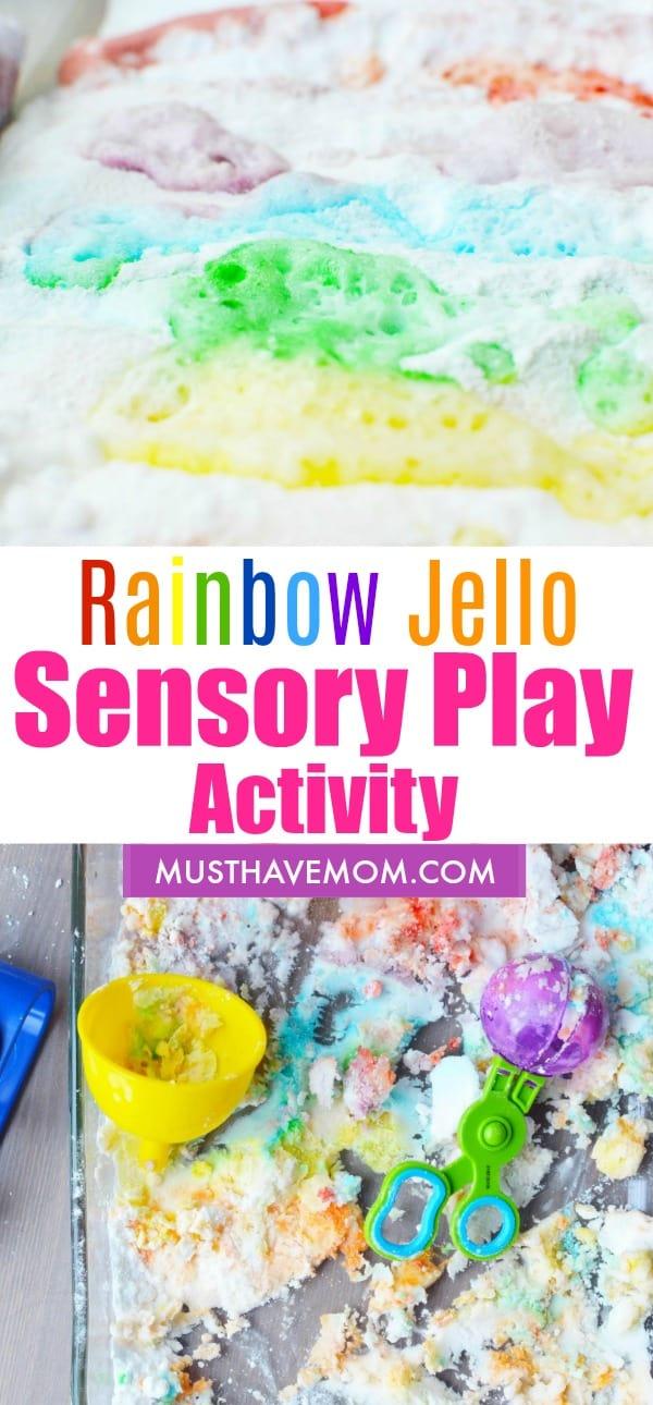 Fun rainbow jello sensory bin for sensory play! Fun kids activities idea.