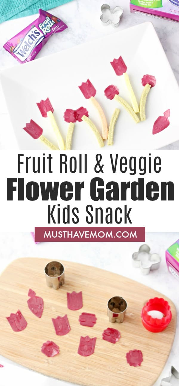 Fun kids snack ideas! Fruit and veggie garden snack.