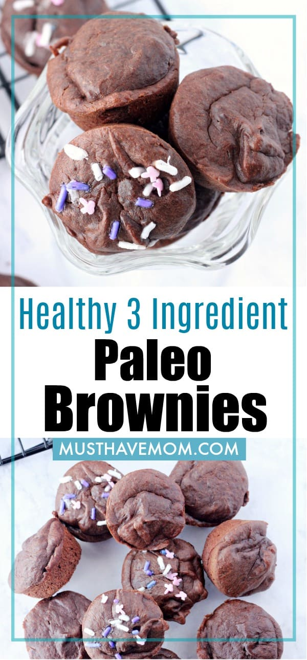 Healthy 3 ingredient gluten free brownies that are paleo, vegan, sugar free, dairy free and grain free / flourless!