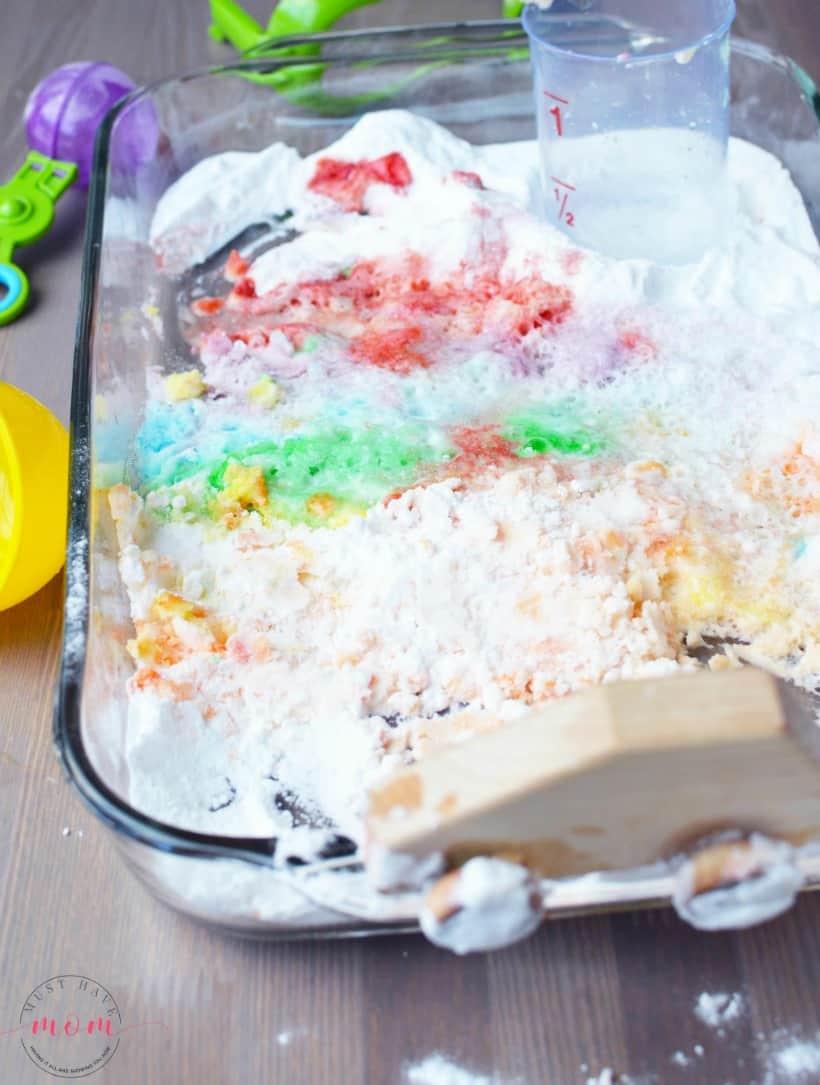 rainbow jello play bin
