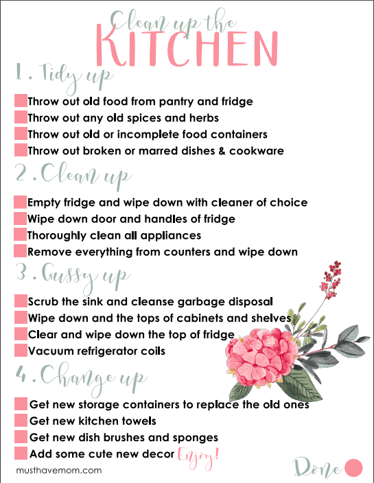 spring cleaning checklist for kitchen
