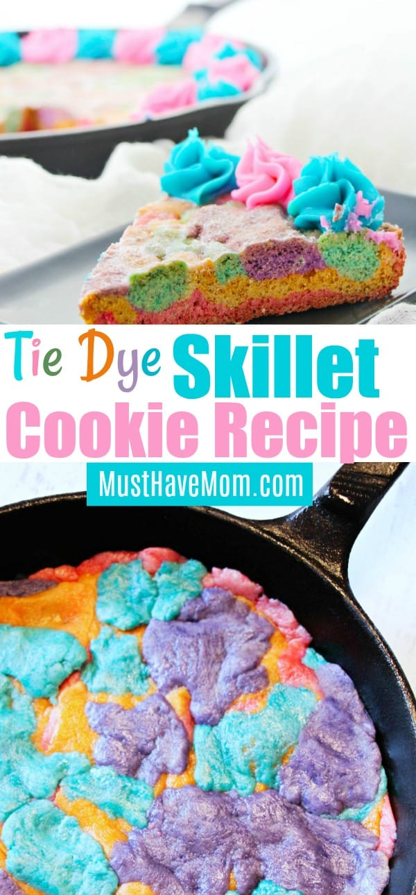 How to make a tie dye skillet cookie in a cast iron pan! This dessert recipe is perfect for summer or rainbow parties.
