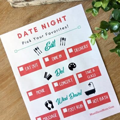 Free Date Night Ideas Printable + Why You Should Date Your Spouse!