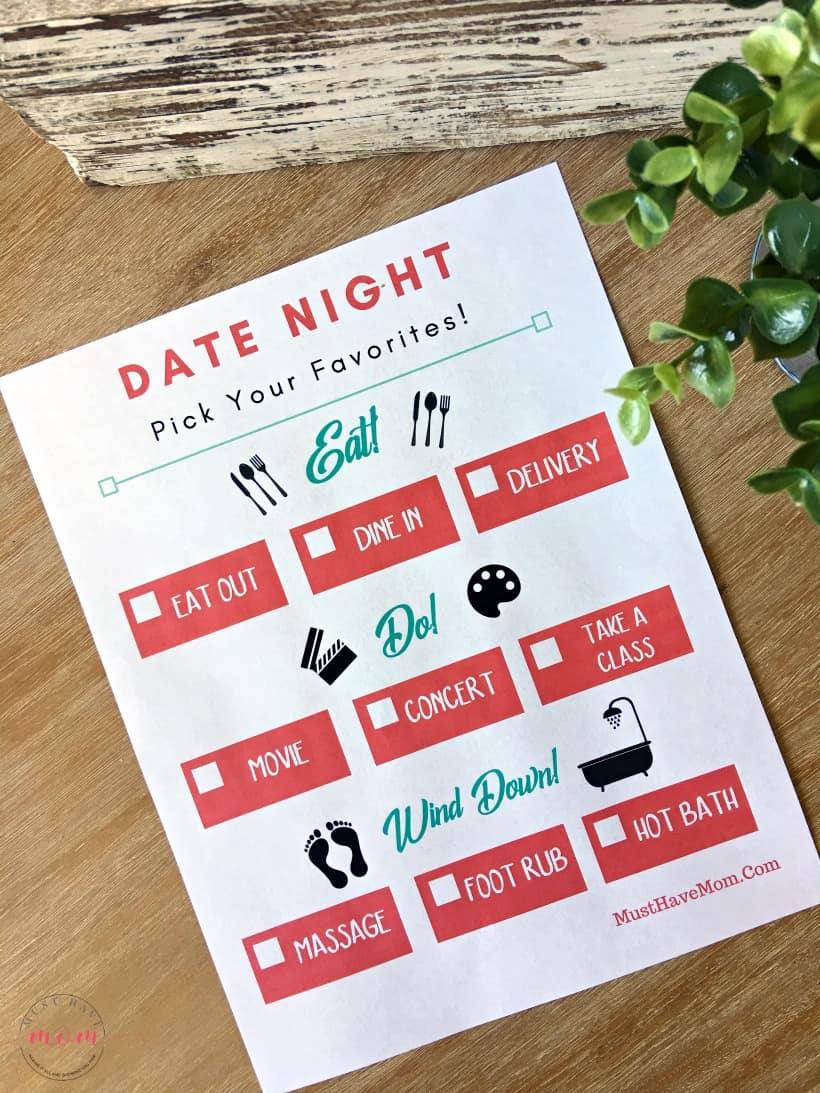 free date night ideas printable