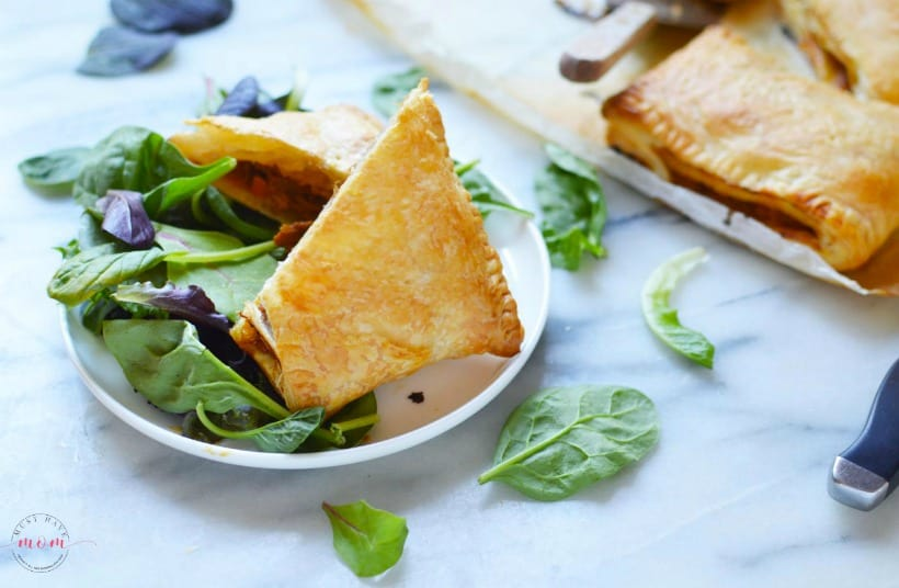 Pulled pork and mango pasties with salad