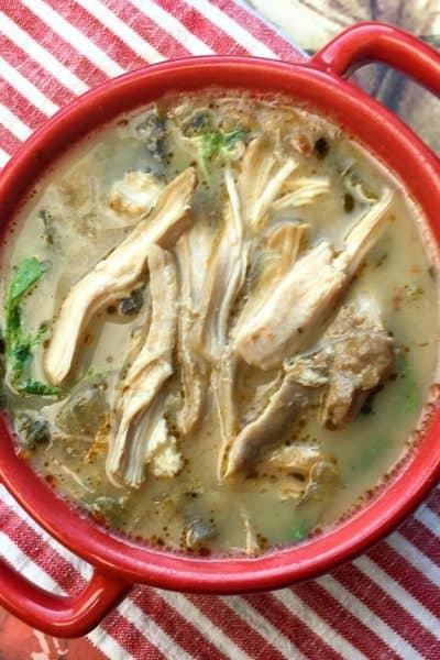 chicken florentine soup bowl