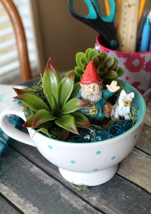 gnome teacup garden