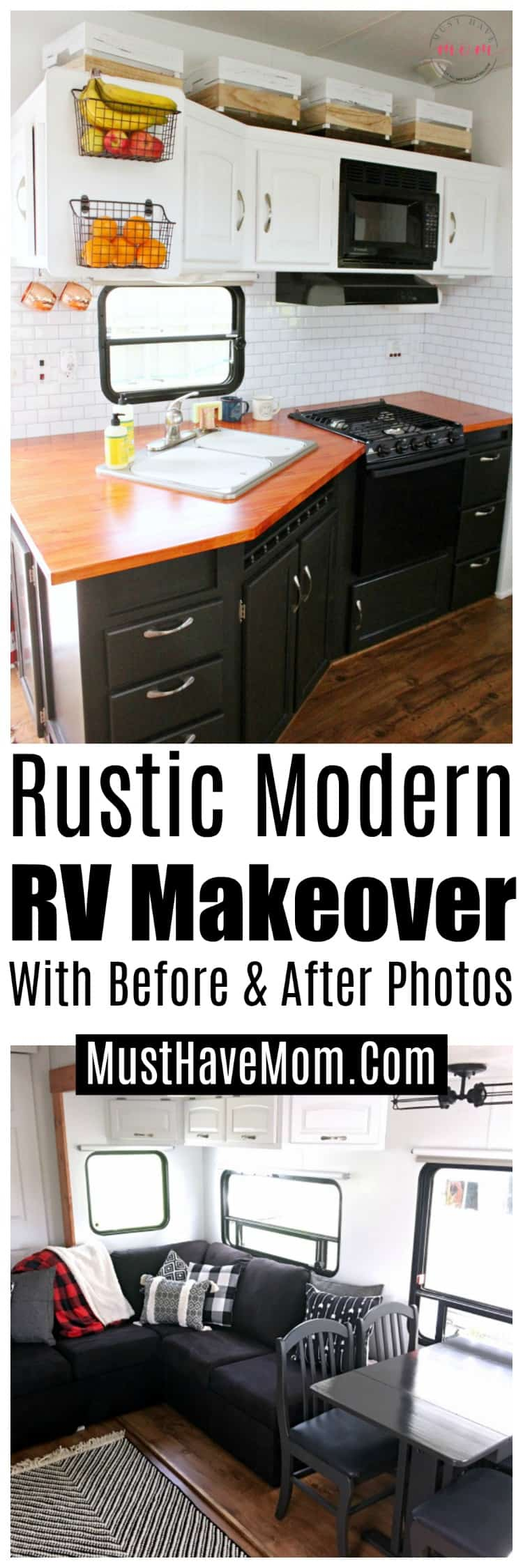 Rustic modern RV makeover with before and after photos. Love the cozy mountain vibe! #camper #makeover #RV #RVmakeover #mountain #modern #DIY #rustic #cozy #fifthwheel #RVlife #camping