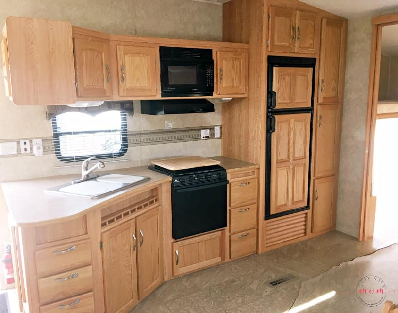 RV kitchen before makeover