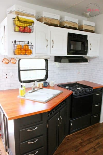 rustic mdoern rv kitchen makeover