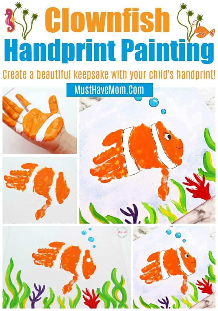 Ocean clownfish handprint art