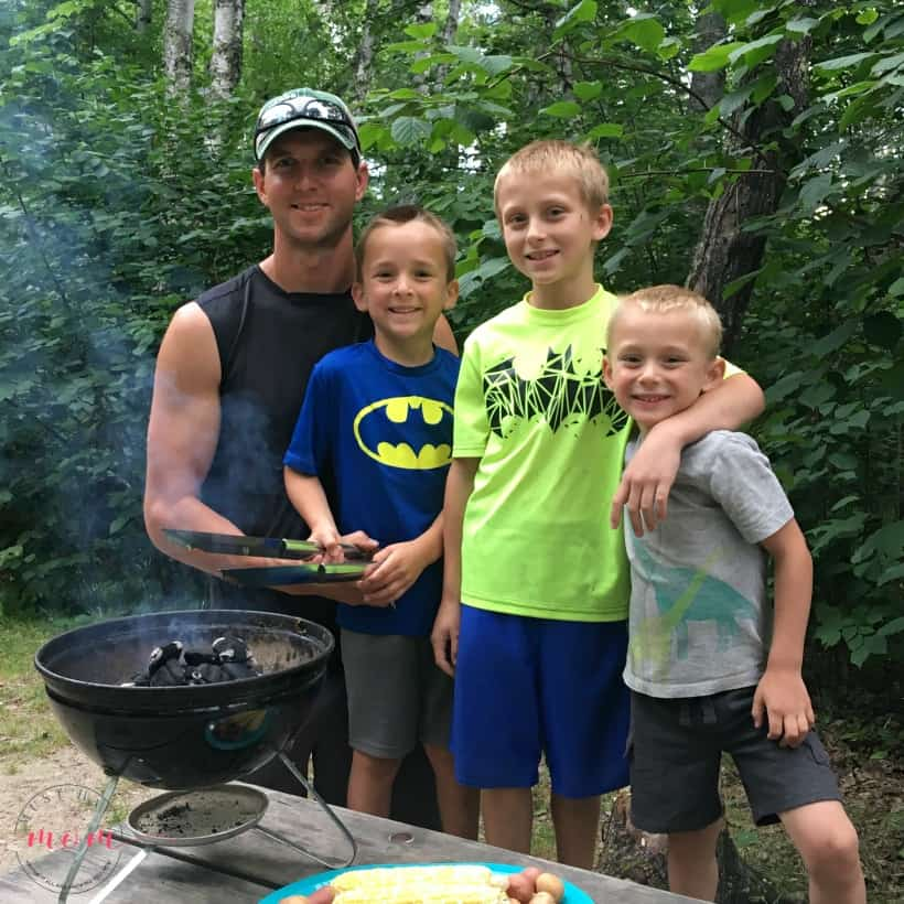 boys cooking with dad