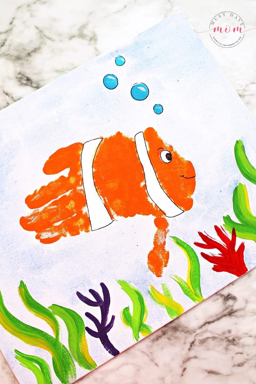 clownfish handprint art