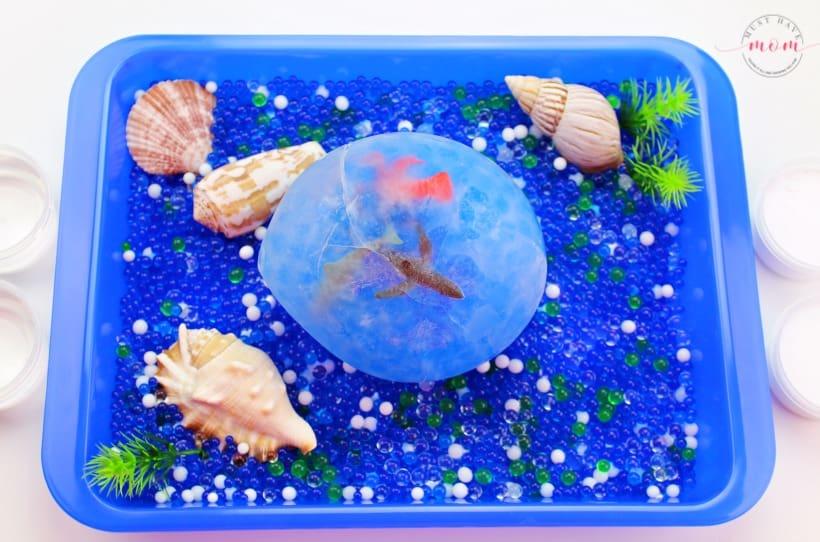 frozen sensory bin ocean play