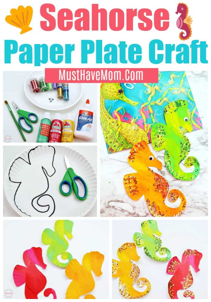 Seahorse paper plate craft