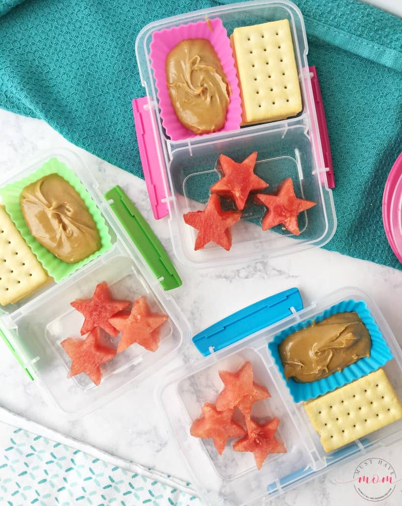 watermelon, crackers and peanut butter make ahead