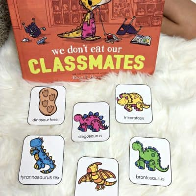 We Don't Eat Our Classmates + Free Printable Dinosaur Flashcards!