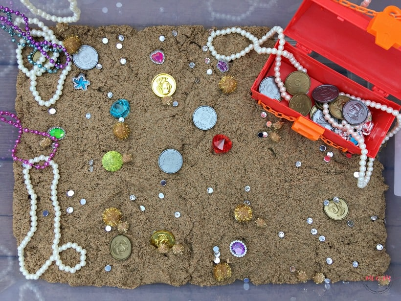 treasure hunt sand sensory play