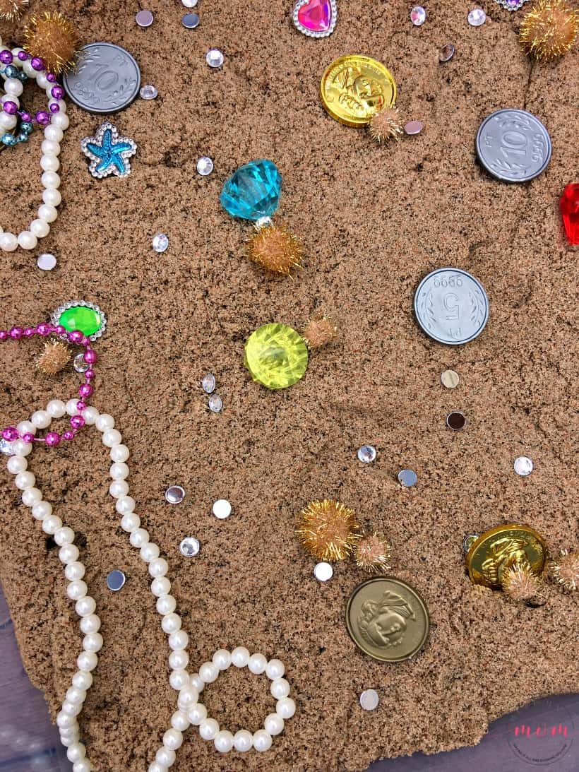 hidden treasure sensory bin